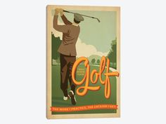 """Man Cave Collection: I'd Rather Be Playing Golf by Anderson Design Group Canvas Print 18"""" L x 26"""" H x 0.75"""" D"""
