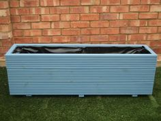 3 rows of decking trough wooden planters painted in Cuprinol Forget Me Not Large Wooden Planters, Wooden Trough, Deck Planters, Trough Planters, Cuprinol Silver Birch, Plant Troughs, Pressure Treated Timber, Forget Me Not, Cool Paintings