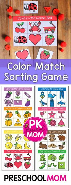 Color matching is an important skill to learn during the preschool year. Students learn visual discrimination skills while sorting these colorful pictures. Each colors bingo mat includes Preschool Classroom Setup, Preschool Colors, Preschool At Home, Preschool Games, Free Preschool, Preschool Printables, Daycare Curriculum, Abc Games, Creative Curriculum