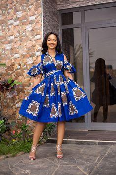 Blue alfresco African dress, African dress, ankara, kitenge, kente, Ghanaian fashion, Nigerian fashion, Ghanaian women, African clothing, ankara dress, kente