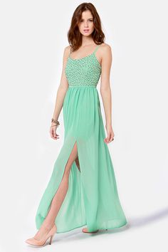 So cute dressed up or down. (Mint maxi dress, $54.00)