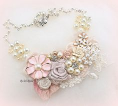 Necklace Statement Bridal Maid of Honor Floral Ivory by SolBijou