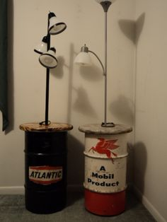 A couple oil drum table lamps I've made. Mobile and Atlantic brands.