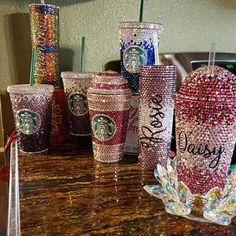 Custom Rhinestone Bling Starbucks Cold Drink Dome or Flat Lid Tumbler / Cup Starbucks Cup Art, Custom Starbucks Cup, Starbucks Logo, Starbucks Tumbler, Starbucks Merchandise, Starbucks Bottles, Starbucks Drinks, Starbucks Coffee, Mom Tumbler