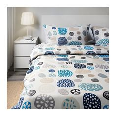 RINGKRAGE Duvet cover and pillowcase(s), blue white, multicolor white/multicolor Full/Queen (Double/Queen) Mark and I