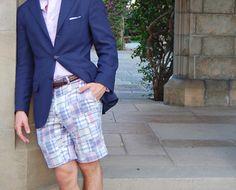 Preppy madras shorts with a blazer