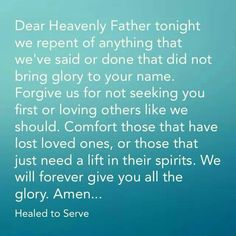 A night time prayer