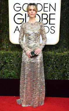 Sarah Paulson Dress: Marc Jacobs Red Carpet Ready, Red Carpet Looks, Natalie Portman, Golden Globe Awards 2017, All Star, Marc Jacobs, Vogue, Carpet Trends, Golden Globes