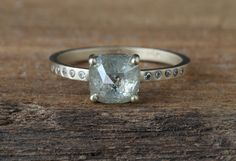 natural pale green rose cut diamond ring  ::  Alexis Russell