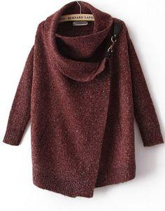 Envío gratis 2015 mujeres de la marca de ropa nueva otoño / invierno moda Casual vino rojo drapeado cuello alto de manga larga chaqueta de punto(China (Mainland))