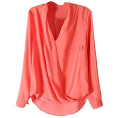 LUCLUC Red V-Neck Long Sleeve Chiffon Blouse ($19) ❤ liked on Polyvore