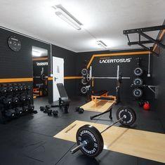 home gym design Home Gym Basement, Home Gym Garage, Diy Home Gym, Gym Room At Home, Home Gym Decor, Crossfit Garage Gym, Workout Room Home, Workout Rooms, Workout Room Decor