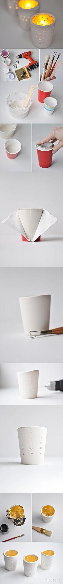 Zrób niesamowite świeczniki stożki z suchej porcelany.… na Stylowi.pl