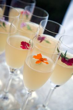 Refreshing cocktails are garnished with bright blooms that recall colors of the Renaissance era.