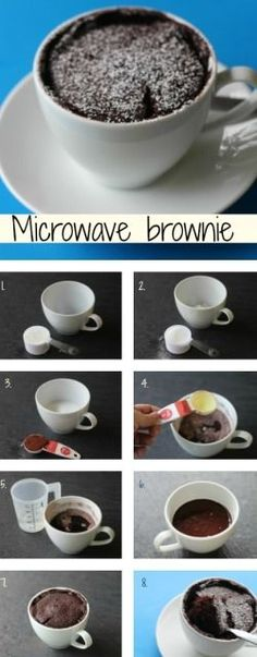 Microwave brownie - Just tried this and it is AWESOME! Light, fluffy, and so perfect for that late night chocolate fix!