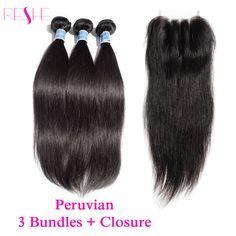 Peruvian Virgin Hair Straight with Closure 3 Bundles Peruvian Hair Weaves Bundles with Closure Reshe Human Hair with Closures
