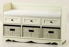 French Country 3-Basket Bench w/ Drawers - Ivory Fabric  Add casual, country appeal to your home with this French Country Basket.  Comes in 4 different finishes - white, green, black, and cream. $233. Perfect for an entryway.
