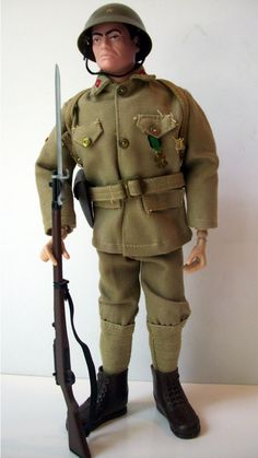 GI Joe Japanese Imperial Soldier. One of the more sought after Soldiers of the World Series from 1966. Accessories for this set were: Backpack, Pistol belt, Ammo pouches (2), Nambu pistol with holster, Arisaka rifle with sling, Bayonet and Order of the Kite medal.