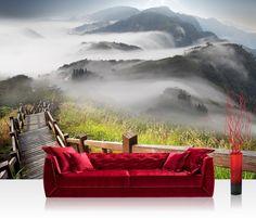 """Foto behang """"Over de bergen"""" vliesbehang 300x210cm of 400x280cm"""
