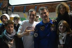 former student Astronaut Paolo Nespoli with students form Liceo Majorana in Desio for a Conference held dec 2012