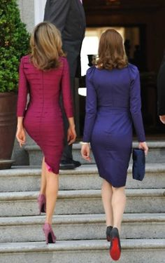 Killin' it.  Love the shoes on both ladies. Love the colors of the dresses, and the cut, not sure about the long sleeves though...