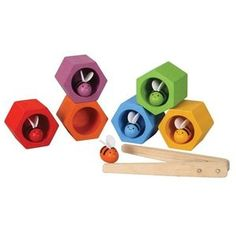 Preschool Bee Hive by Plan Toys. Toddlers improve motor skills and learn color sorting with this bee hive and bee set. Toddler Toys, Baby Toys, Bee Hive Plans, Sorting Games, Plan Toys, Green Toys, Non Toxic Paint, Preschool Toys, Preschool Curriculum
