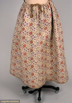 PRINTED & QUILTED PETTICOAT, FRANCE, 1830-1860