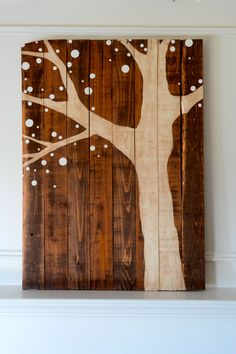 Reclaimed Wood Art Sign Ivory Tree on stained by BooneCreekLoft