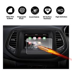 Altitude 2018 Navigation Touch Screen Protector Invisible Ultra HD Clear Film Anti Scratch Skin Guard IPG for Jeep Cherokee Latitude Latitude Plus Smooth//Self-Healing//Bubble-Free