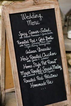 chalkboard menu   One Day I'll Wear a White Dress…