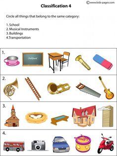 (2015-01) Hvad hører til hhv. skolen, musik, bygninger, transport?