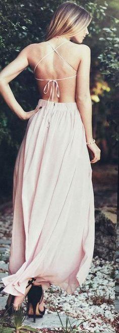 Hot-Sexy Halter Open Back Pink Long Chiffon Prom Dress