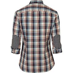 Blue Shoulder Patch Check Shirt - Back