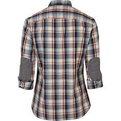 Blue Shoulder Patch Check Shirt - Back
