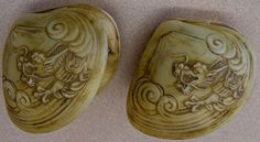Hand Carved Clam Shells with  Oriental Dragons