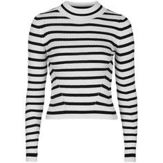 TOPSHOP TALL Stripe Crop Jumper ($50) ❤ liked on Polyvore featuring tops, sweaters, monochrome, topshop jumper, topshop, crop top, topshop sweaters and white cropped sweater