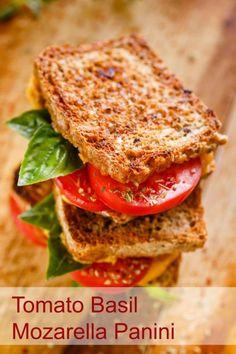 Tomato Basil Mozzarella panini. Easy sandwich recipe!