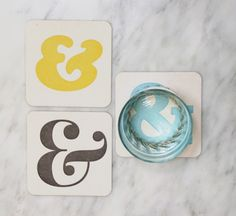 Ampersands in Color: Letterpress Coasters & More Letterpress Coasters (10ct) Something similar. May have to DIY