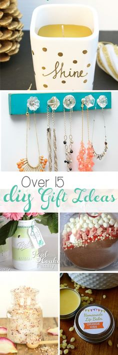 I love these great gift ideas! There are more than 15 DIY ideas for Christmas gifts (or anytime of the year). Most of them are quick, inexpensive and easy, too!