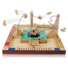 Destruct 3 Board Game  - For 2-4 players  - Roll the dice to determine the destructive device!  - Board and devices made of wood  - Folds in half for easy storage   Players take turns building a tower while all opponents try to destroy it using a catapult, pendulum, or ramp. Not only does it combine destructive entertainment with suspense, but this game is also educational. That's right - as you plan your attacks you're using knowledge of math, engineering, logic, simple machines, and more.