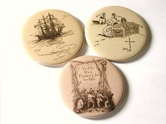 MAGNETS Set of 3 Pirate Treasure Ship and Yo Ho It's by artaltered,