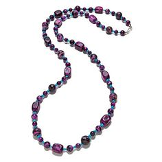 Jay King Purple Plume Stone and Turquoise Necklace