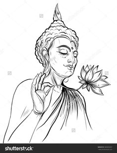 stock-vector-buddha-holding-lotus-flower-vector-illustration-isolated-on-white-sketchy-style-hand-drawn-384820207.jpg (1221×1600)
