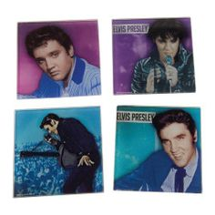 Elvis Presley 4 pc. Glass Coaster Set - Your guests' eyes and drinks will be drawn to this Elvis Presley 4 pc. Glass Coaster Set featuring classic Elvis poses.