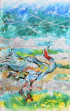 Dancing Crane1 30x48 Acrylic