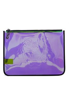 KENZO Busta Clutch Kenzo Viola Iridescente In Gomma. #kenzo #bags #clutch #pvc #hand bags #