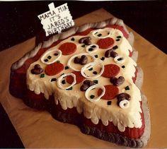 Pepperoni Pizza Cake ~ Using a Wilton Christmas tree pan