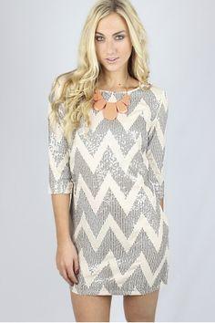 Cream Chevron Sequin Dress $39.99