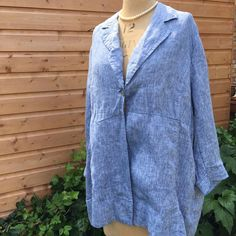 UK SIZE 20 WOMENS COTTON TRADERS BLUE LINEN SUMMER JACKET ONE BUTTON #CottonTraders #BohoCasual #Casual