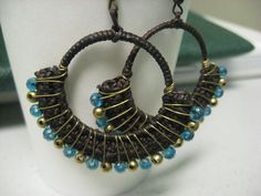 Crochet Hoop withTeal and Bronze beads Earrings by KedulKreation, $15.00